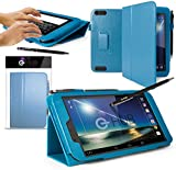 G-HUB® Stand Case for HUDL 2 Tablet - TROPICAL TURQUOISE (light blue) Case / Cover / Skin with Built-In PropUp Stand (Dual Angle for Viewing & Typing Positions) - designed by G-HUB, for use with Hudl 8.3 inch Tablet (2nd Version Tablet, Released in 2014). Case includes BONUS: G-HUB ProPen Stylus.