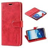 Mulbess Handyhülle für Huawei Mate 10 Pro Hülle, Leder Flip Case Schutzhülle für Huawei Mate 10 Pro Tasche, Wein Rot