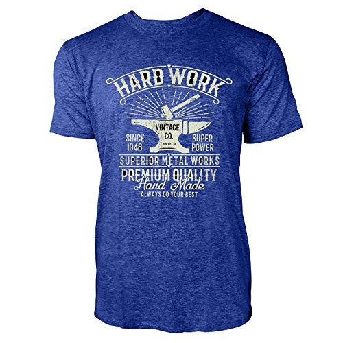 SINUS ART ® Hammer und Amboss im Vitage Stil – Hard Work Herren T-Shirts in Vintage Blau Cooles Fun Shirt mit tollen Aufdruck (T-shirt Print Amboss)