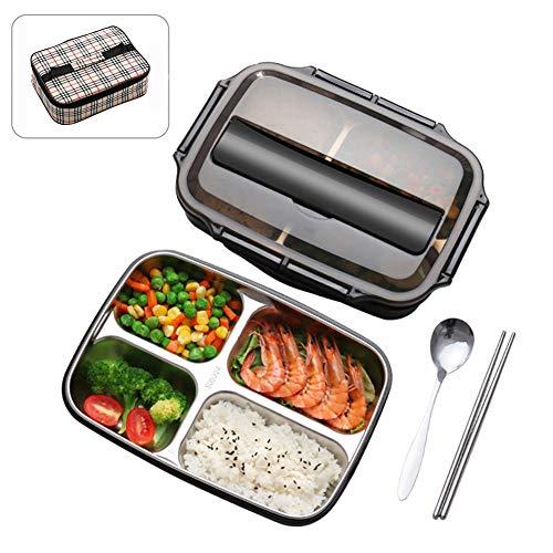 DZWJ Auslaufsichere Brotdose,1000 ml Brotdose mit 304 rostfreien BPA-freien und lebensmittelechten Materialien Vielseitige Brotdose im Bento-Stil mit 4 Fächern -
