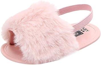 Voberry@ Voberry@ Unisex-Baby Flock Fur Soft Slide Slip On Flat Sandal Slipper Casual Infant Crib Shoes