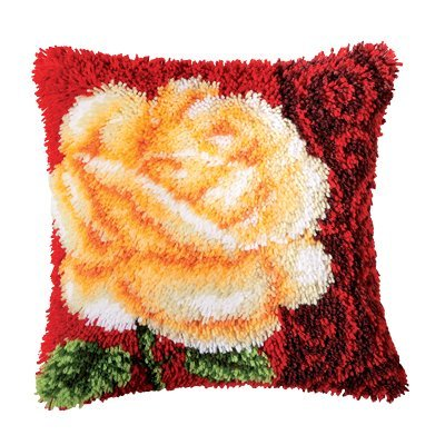 Vervaco Rose Latch Hook Cushion, Multi-Colour by Vervaco -
