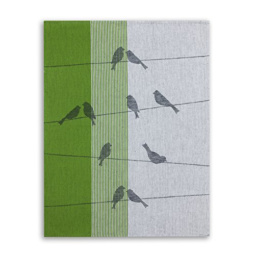 KRACHT, Geschirrtuch Jacquard Gewebe, Halbleinen, Serie Zugvögel, grün, Edition ziczac-affaires, ca.50x70cm (Baumwolle Jacquard-gewebe)