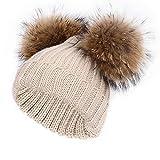 Kinder Winter Pompom Hut Kleinkind Doppel Ball Warm Gestrickte Mützen Bobble Ski Caps