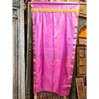 Mogul Interior India Curtains Fuchsia Pink Sari Curtains Golden Border Window Drape One Panel