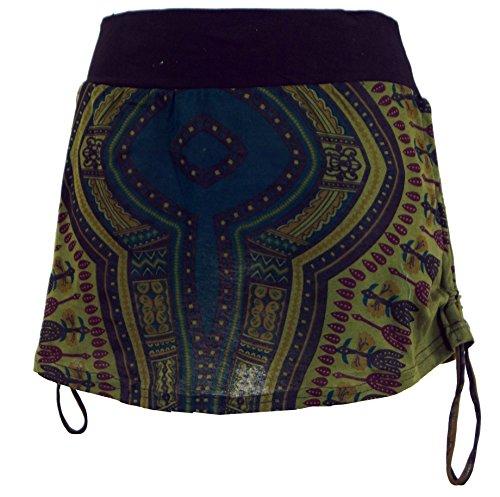 Guru-Shop Minirock, Dashiki Yogarock, Damen, Olive, Synthetisch, Size:36, Kurze Röcke Alternative Bekleidung