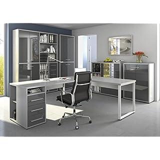 moebel-dich-auf Komplettes Arbeitszimmer - Büromöbel Komplett Set Plus Modell 2017 Maja Set+ in Platingrau/Grauglas (Set 8)