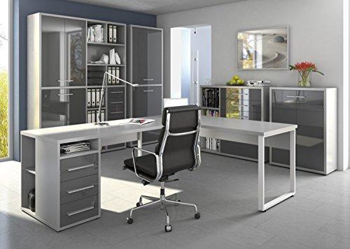 Das Büro in Platingrau - komplettes Arbeitszimmer