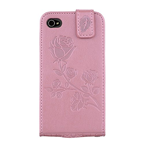 "MOONCASE iPhone 4/iPhone 4s Coque, [Embossed Pattern] Card Holster Flip Housse Durable PU Cuir Anti-choc Supports Protection Etui Cases pour iPhone 4/iPhone 4s 3.5"" Violet Rose"