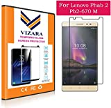 VIZARA |2.5D 0.3mm Curved 9H Flexible| |Gorilla Glass| |Scratch Shock Proof| |Anti Explosion| |Tempered Glass| Screen Protector Shield For Lenovo Phab 2 Plus Pb2-670M { 0.3mm 2.5D Curved Ultra HD Clear Proper Camera and Sensor Cut }