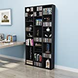 Dakea Bücherregal Wandregal CD Regal Holz Regal mit verstellbar Fach 196 x 102 x 24cm Schwarz