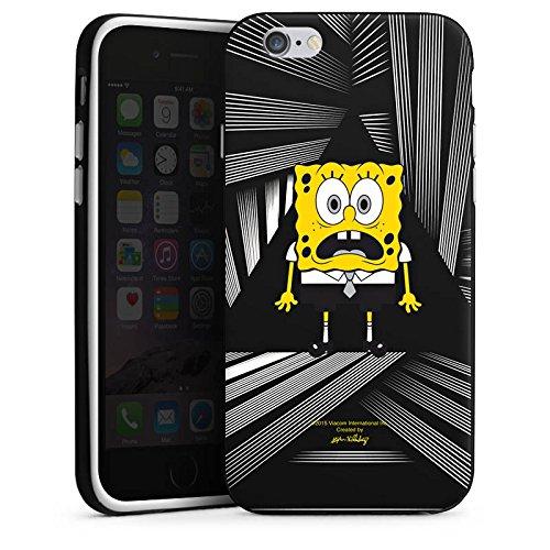 Apple iPhone X Silikon Hülle Case Schutzhülle Spongebob Fanartikel Merchandise Spongebob Schwammkopf Silikon Case schwarz / weiß