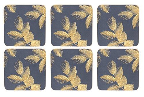 Sara Miller geätzt Blätter Marineblau Untersetzer–Set von 6 (Blatt-untersetzer-set)