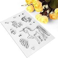 exing plantilla transparente de silicona, tuercas de sello de tuercas para el álbum de recortes de fotos de tarjeta, forma de caballo de dibujo animado