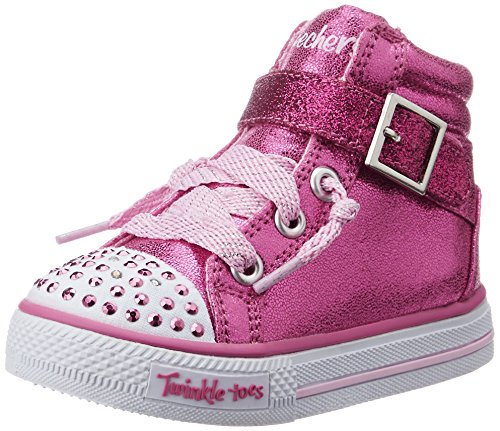 Skechers Infant/Toddler Girls' Twinkle Toes Shuffles Heart N Sole High Top,Hot P