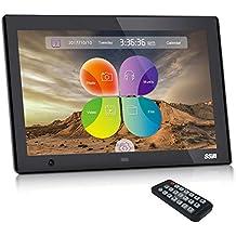"""SSA 10.1""""Marcos digitales con sensor de movimiento para montaje en mesa o pared Soporte Foto, Música y Video(negro)"""