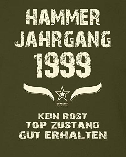 Geschenk Set 18. Geburtstag ::: Hammer Jahrgang 1999 ::: Herren T-Shirt & Urkunde Geburtstagskind des Jahres ::: Farbe: schwarz Khaki