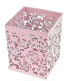 CAOLATOR Stifthalter Farbe Eisen Mesh Stift Inhaber Quadratisches Kosmetikbox Desktop-Aufbewahrungsbox für Büro und Zuhause Rosa