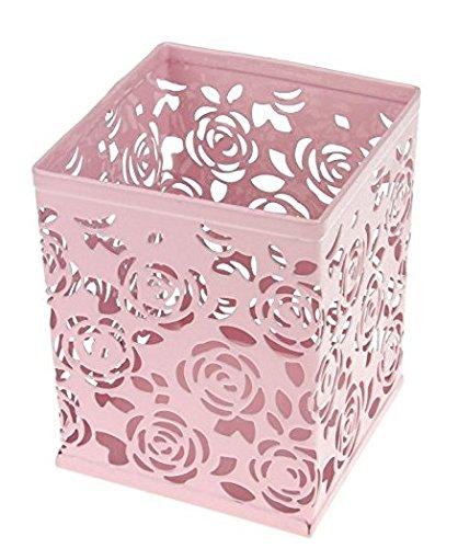 Leisial Carré Boîte de Rangement en Métal Roses Creuses Porte-Stylo Vase pour Fournitures de Bureau Objets Décoratifs et Stockage Bureau Fournitures(Rose)