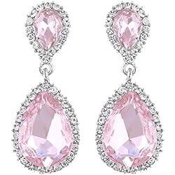 Pendientes de boda con cristal en rosa
