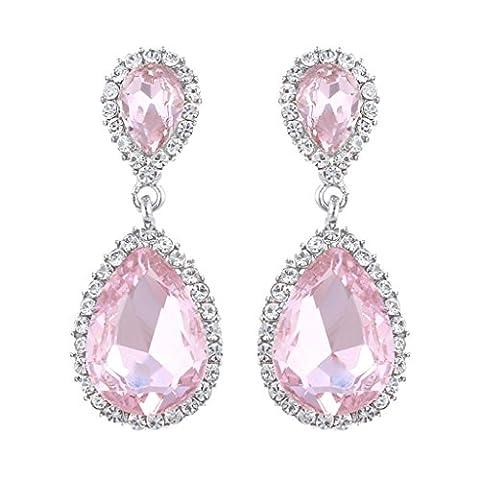 EVER FAITH® Women's Austrian Crystal Double Tear Drop Wedding Dangle Earring Pink Silver-Tone