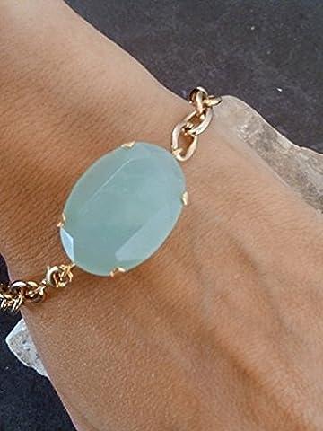 Mint green bracelet,gemstone bangle, seafoam bracelet, chalcedony bracelet, prong set,bridesmaid
