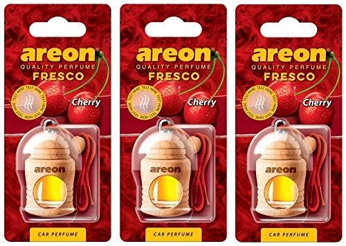 Areon Fresco Deodorante Profumo Auto Ciliegia Dolce Legno Bottiglie Da Appendere Specchietto Liquido Pendente Vetro Boccetta Originali Rosso Legami 4ml 3D Casa ( Cherry Set x 3 )