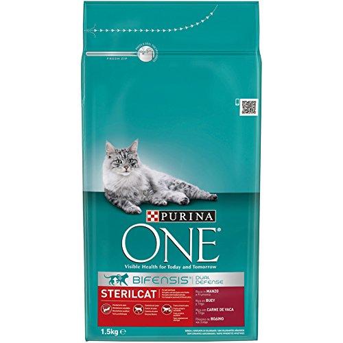 Purina one bifensis crocchette per il gatto sterilizzato, ricco in manzo e frumento, confeziona da 6 (6 x 1.5 kg)