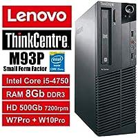 PC Lenovo ThinkCentre M93P SFF - Core i5-4570, RAM 8Gb, HDD 500Gb 7200rpm, DVDRW, Windows 7 Pro + Windows 10 Pro UpGrade (Ricondizionato Certificato) (M93P 8Gb)