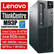 PC Lenovo ThinkCentre M93P SFF - Core i5-4570, RAM 8Gb, HDD 500Gb 7200rpm, DVDRW, Windows 7 Pro + Windows 10 Pro UpGrade (Ricondizionato) (M93P 8Gb)
