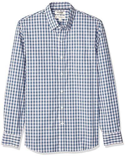Goodthreads Standard-Fit Long-Sleeve Stretch Poplin (All Hours) novelty-t-shirts, Teal Pink Check, US XXL (EU XXXL-4XL)