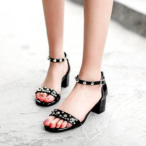 Estate moda donna sandali comodi tacchi alti,37 kaki Black
