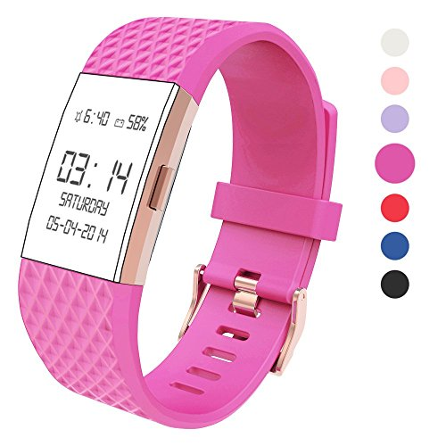 Wearlizer Kompatibel Fitbit Charge2 Armband, Silikon Ersatz Bands Kompatibel Fitbit Charge 2 Armband Special Edition Lavendel Rose Gold