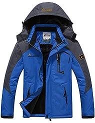 Mochoose Homme Outdoor Mountain Imperméable Coupe-Vent Fleece de Ski et Snowboard à Capuche Veste Vêtement de Sport de Pluie Camping la Pêche Veste de Chasse et Travail Jacket