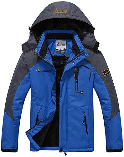 Mochoose Herren Outdoor Mountain Wasserdichte Windbreaker Jacken Fleece Ski Snowboard Kapuzenjacke Sportbekleidung Regenmantel Camping Angeln Jagd Arbeitsjacke(Saphirblau,M) (Herren-business-regenmantel)