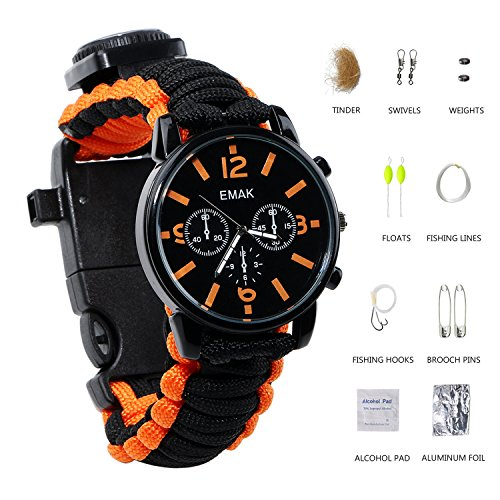 Paracord Survival Uhren/Armband Notfall Kit, Herren & Damen Outdoor Survival Armband mit Kompass pfeifen, Schaber und feuersteinstab Fanggeräte, 16 in 1 Survival Kit, Orange