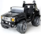 Charles Jacobs Kids Ride On Car Black HUMMER Style Electric Battery Toy 12V, Massive Twin Seat Jeep