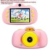 ToyZoom Cámara para niños 2 Objetivos SelfieCámara de Fotos Digital Reproductor de Música 8MP Cámara Digital 1080P HD Videocámaras con Zoom Digital 4X, 2.4' LCD, Batería Recargable