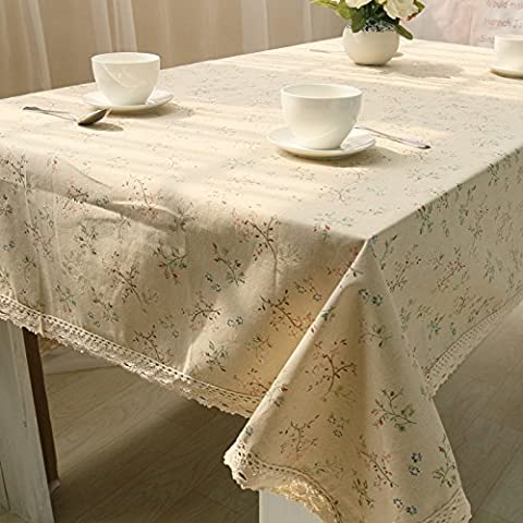 SUUNHH-Fresh floral tablecloth covered napkins table linen cotton,100*140