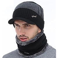 MIOIM Hombres 2pc gorros+bufanta de punto Aire Libre Sport Tejido Sombreros de Invierno Hombre (Negro)