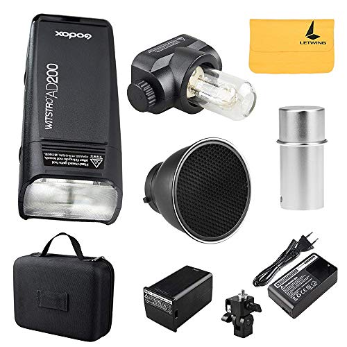 Godox AD200 TTL Pocket Flashlight Flash Portable Mini Speedlite with 2 Heads GN52 GN60 1/8000s High Speed Built in 2.4G Wireless System high 200W Power Supply+ 40 ° Honeycomb Standard Reflector kit -