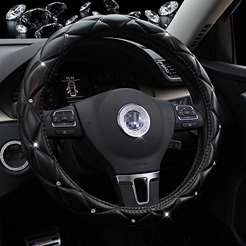 Car Steering Wheel Covers, Seamong 38 cm/38,1 cm universale con strass coprivolante per donne/ragazze/ladies-black