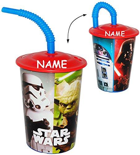 """Trinkbecher mit Strohhalm - """" Star Wars """" - für Kinder Kunststoff - incl. Name - Becher - Deckel & mit Insekten Schutz - Sommer Bienen / Trinkhalmbecher - Kunststoffbecher - Trinkglas Saftbecher Strohhalmbecher - Starwars - Anakin Skywalker - Jedi / Yoda - R2 D2 - Stormtrooper"""