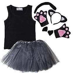 Kirei Sui Kids Animal Costume Tank Top Ears Bowtie Tail Tutu Paws Outfit