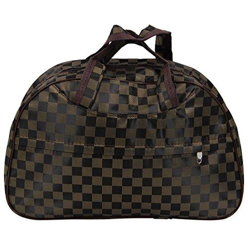 Sac - TOOGOO(R)Mode Oxford femmes etanche sac Brown Grille Sac Voyage Grand bagage a main en toile Sacs