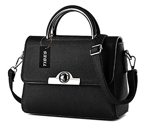 Tibes modernen Frauen Umhängetasche niedliche Handtasche kleine Umhängetasche Schwarz