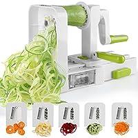 Sedhoom 003791- Cortador de Verduras en Espiral de 5 Cuchillas,Doblado Espiralizador de Verduras de Fácil uso Para Cortar Frutas y Verduras en Espiral, Juliana, Espaguetis, Tallarines, Cintas o Fideos