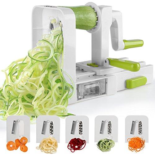 Sedhoom Espiralizador de Vegetales Cortador de Verduras de 5 Cuchillas,Doblado Espiralizador de verduras en Espiral, Juliana, Espaguetis, Tallarines, Cintas o Fideos
