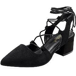rismart Damen Kätzchen Ferse Schnürsenkel Verschönert Party&Abend Spitz Samt Schuhe Sandalen SN02733(Schwarz,EU36.5)