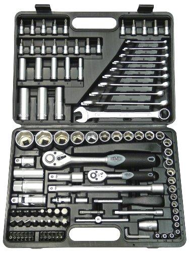 Famex 568-FX-45 Steckschlüsselsatz, 12,5mm (1/2-Zoll)- und 6,3mm (1/4-Zoll)-Antrieb, 4-32 mm, 120-teilig